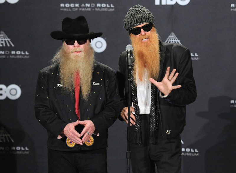 CLEVELAND, OH - APRIL 14:  Presenters Dusty Hill and Billy Gibbons of ZZ Top speak at the press room during the 27th Annual Rock And Roll Hall Of Fame Induction Ceremony at Public Hall on April 14, 2012 in Cleveland, Ohio.  (Photo by Mike Coppola/Getty Images)