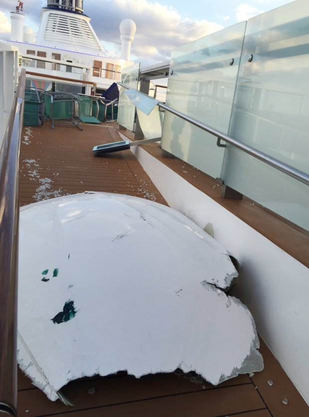 This image made available by Flavio Cadegiani shows damage to Royal Caribbean's ship Anthem of the Seas, Monday, Feb. 8, 2016. The ship ran into high winds and rough seas in the Atlantic Ocean on Sunday, forcing passengers into their cabins overnight. No injuries were reported and only minor damage to some public areas. The ship is turning around and sailing back to its home port in New Jersey. (Flavio Cadegiani via AP)