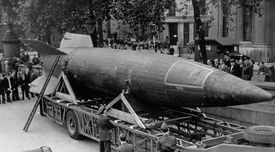 (FILE PHOTO) On October 03, 2012 it will be 70 years since the first V-2 rocket was launched. The V-2 rocket was a ballistic missile that was developed at the beginning of the Second World War in Germany and was the world's first long-range combat missile. Please refer to the following profiles on Getty Images Archival for further imagery: http://www.gettyimages.com/Search/Search.aspx?EventId=112294237&EditorialProduct=Archival#&esource=maplinARC_uki_12oct circa 1945: A V-2 rocket on display in Trafalgar Square, London. (Photo by Hulton Archive/Getty Images)