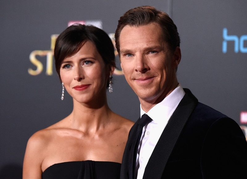 """HOLLYWOOD, CA - OCTOBER 20: Actor Benedict Cumberbatch (R) and wife Sophie Hunter Premiere Of Disney And Marvel Studios' """"Doctor Strange"""" on October 20, 2016 in Hollywood, California. (Photo by Frazer Harrison/Getty Images)"""