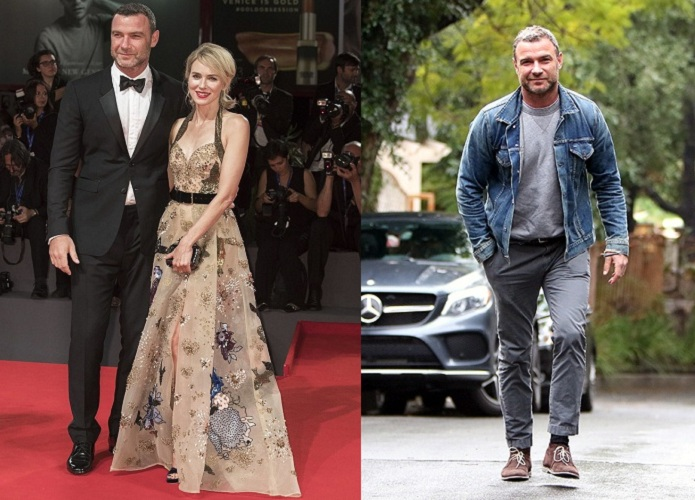 """VENICE, ITALY - SEPTEMBER 2:  Actor Liev Schreiber (L) and actress Naomi Watts (R) attend the red carpet of Philippe Falardeau's movie """"The Bleeder""""  during 73rd Venice Film Festival at Venice Lido, Italy on September 2, 2016. (Photo by Primo Barol/Anadolu Agency/Getty Images)"""